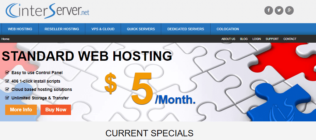 الصفحة الرئيسية لموقع Interserver