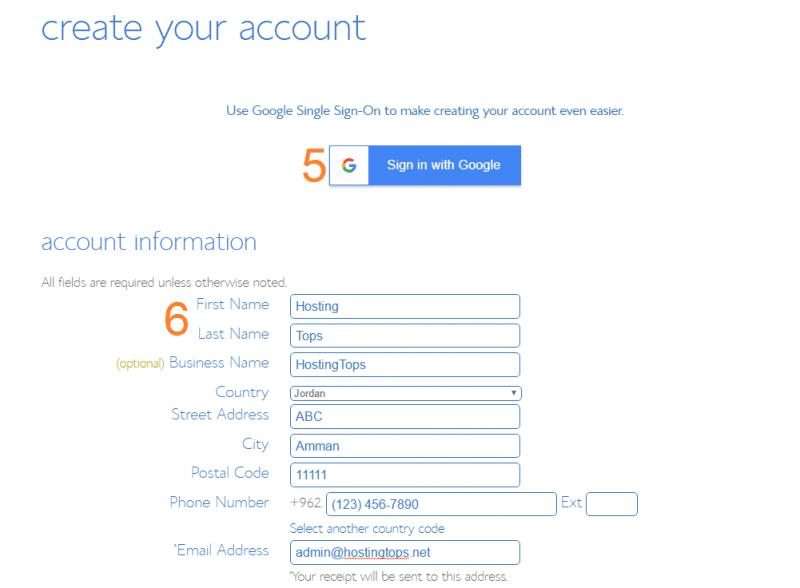 انشاء حساب استضافة بلوهوست