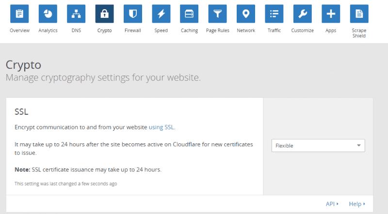طلب شهادة SSL مجانية على CloudFlare