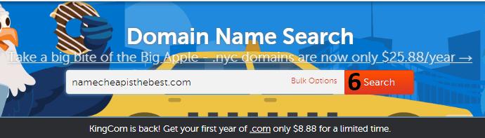 البحث عن دومين متوفر على NameCheap
